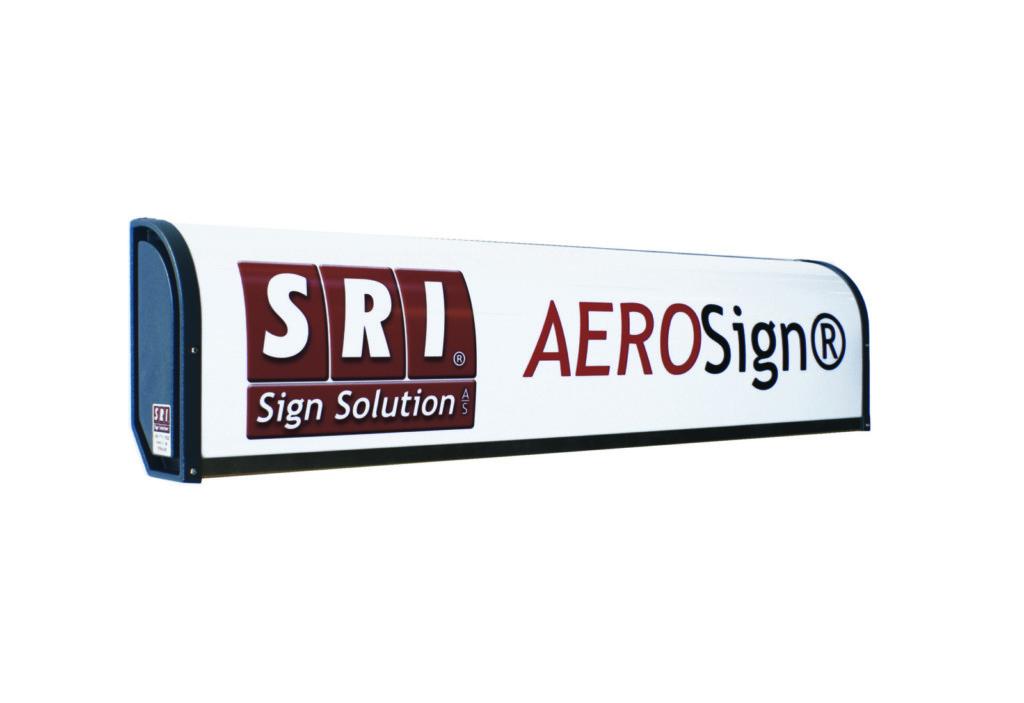 AeroSignLED - originalt lysskilt med buet frontplade