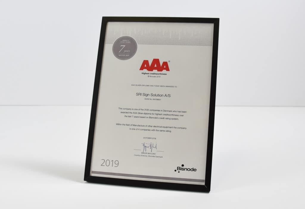 AAA diplom - 7 aar i træk - SRI Sign Solution A/S
