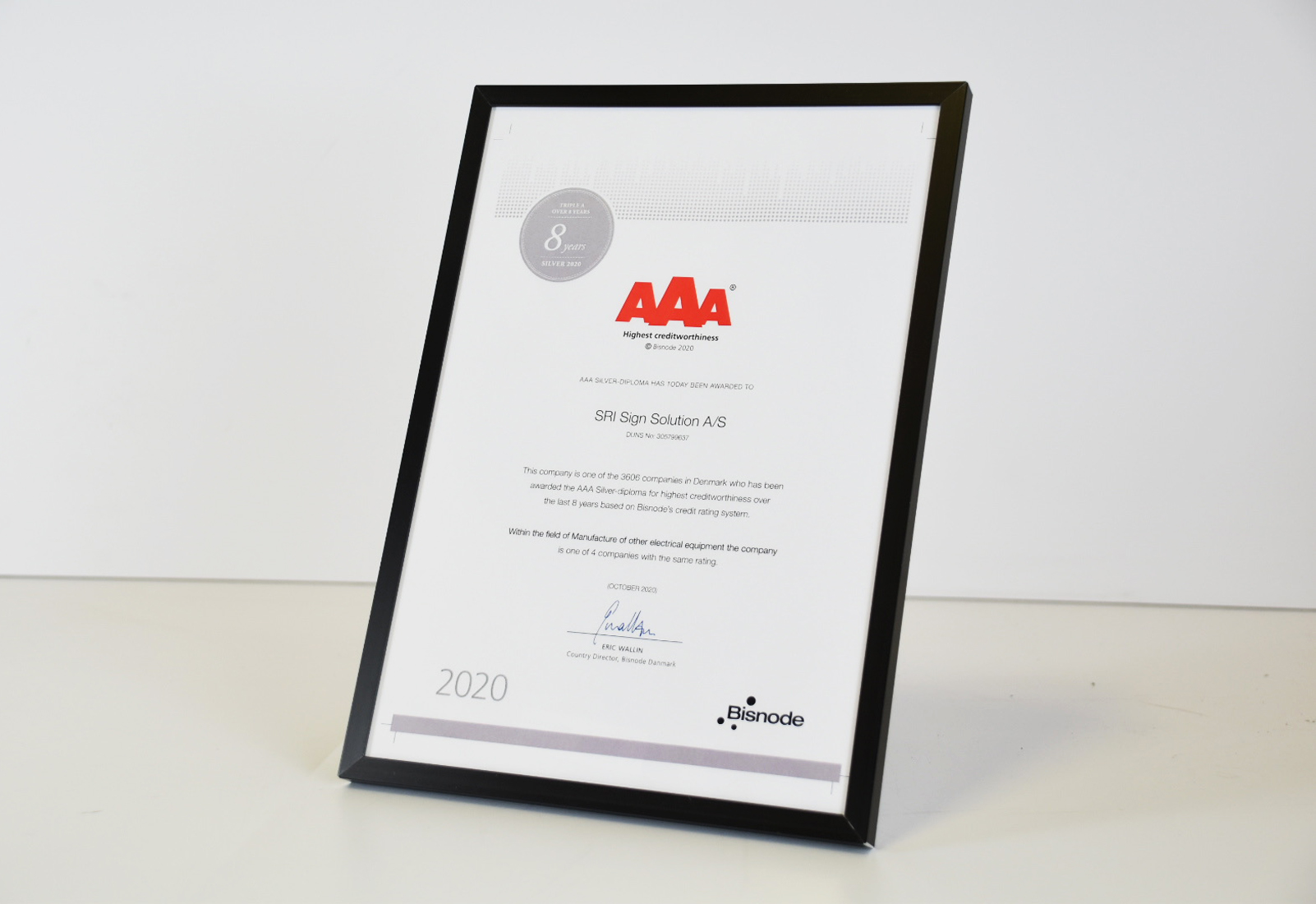 AAA diplom - 8 aar i træk - SRI Sign Solution A/S
